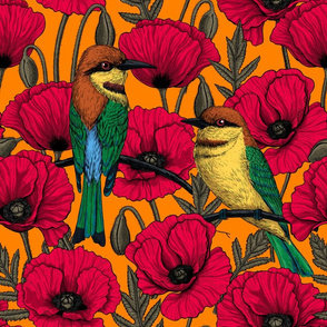 Bee eaters and poppies on orange