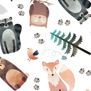 Woodland Critters Tossed w/ Animal Tracks – Bear Raccoon Moose Wolf Owl Fox Tree LARGER scale