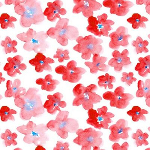 Patriotic flowers • watercolor florals in red and blue