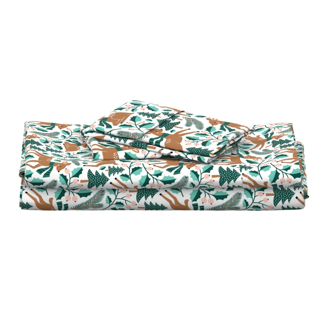 Langshan Full Bed Set featuring winter deer by mirabelleprint
