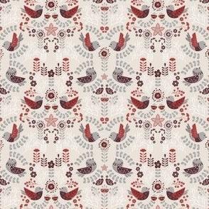 Scandinavian Floral Birds - Gray Red