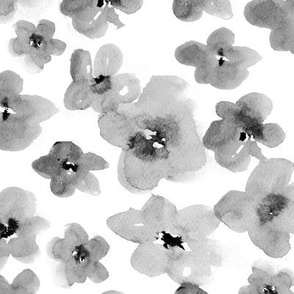 Silver flowers • watercolor flowers in grey shades
