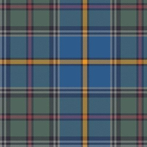 "Green MacLeod tartan, 6"" muted custom, double grey stripe"