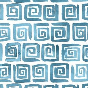 Watercolor Greek Key  - Blue Gray