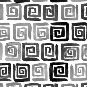 Watercolor Greek Key  - Black, White, Gray
