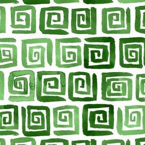Watercolor Greek Key  -  Green