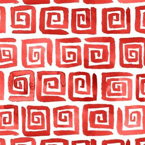 Watercolor Greek Key  - Red