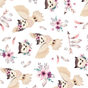 Bohoo Owl - boho owl and floral - rotated