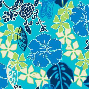Tropical Tiki Whimsical Hawaiian Retro Floral - Turquoise