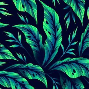 Jungle Leaves Coordinate - Emerald Green