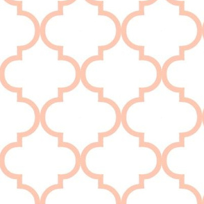Moroccan Tile Quatrefoil in blush pink and white