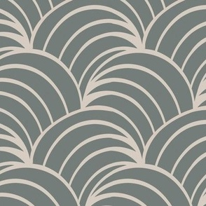 art deco grey ocean waves