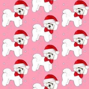 Bichon Frise dog santa // Holidays // Christmas