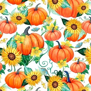 Pumpkins , Sunflowers and moths