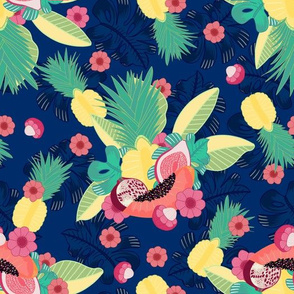 Tropical Fruit Salad navy blue