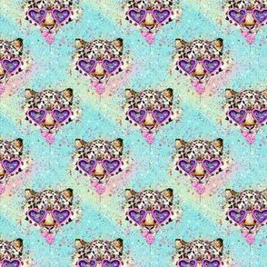 Kitty leopard cat aqua confetti lollipop