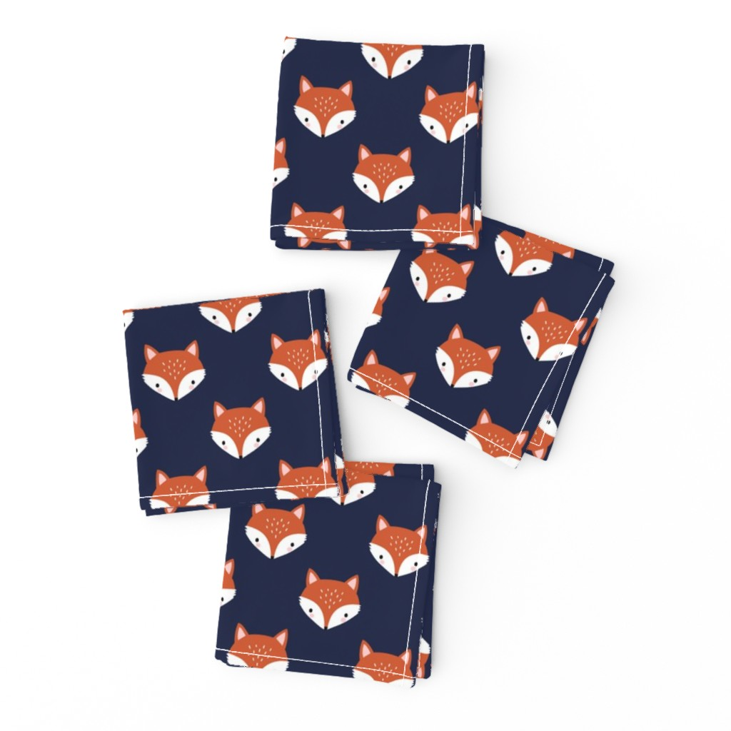 Frizzle Cocktail Napkins featuring cute fox face - dark blue by mirabelleprint