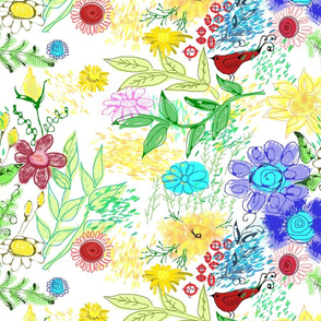 floral doodle white