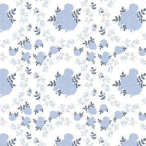 Dancing roses - sky blue on white