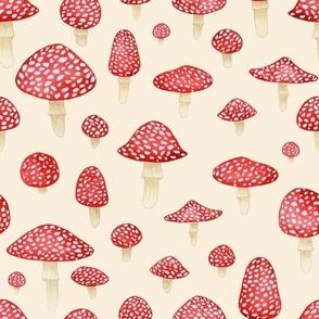 Red Mushroom on Cream - Large Print