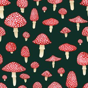 Red Mushroom on Dark Teal - Large Print