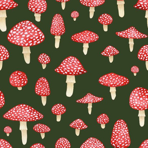 Red Mushrooms on Olive Green - Large Print