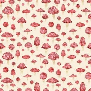 Red Mushrooms on Cream - Small Print