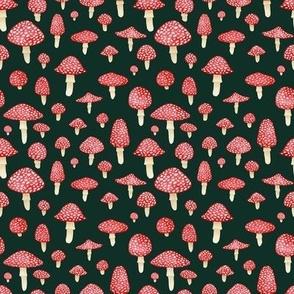 Red Mushrooms on Dark Teal - Small Print