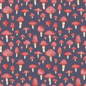 Red Mushrooms on Grey - Small Print
