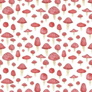 Red Mushrooms on White - Small Print