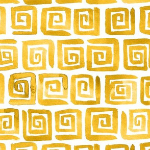 Watercolor Greek Key  - Yellow