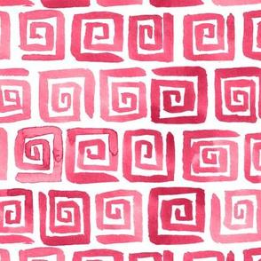Watercolor Greek Key  - Pink