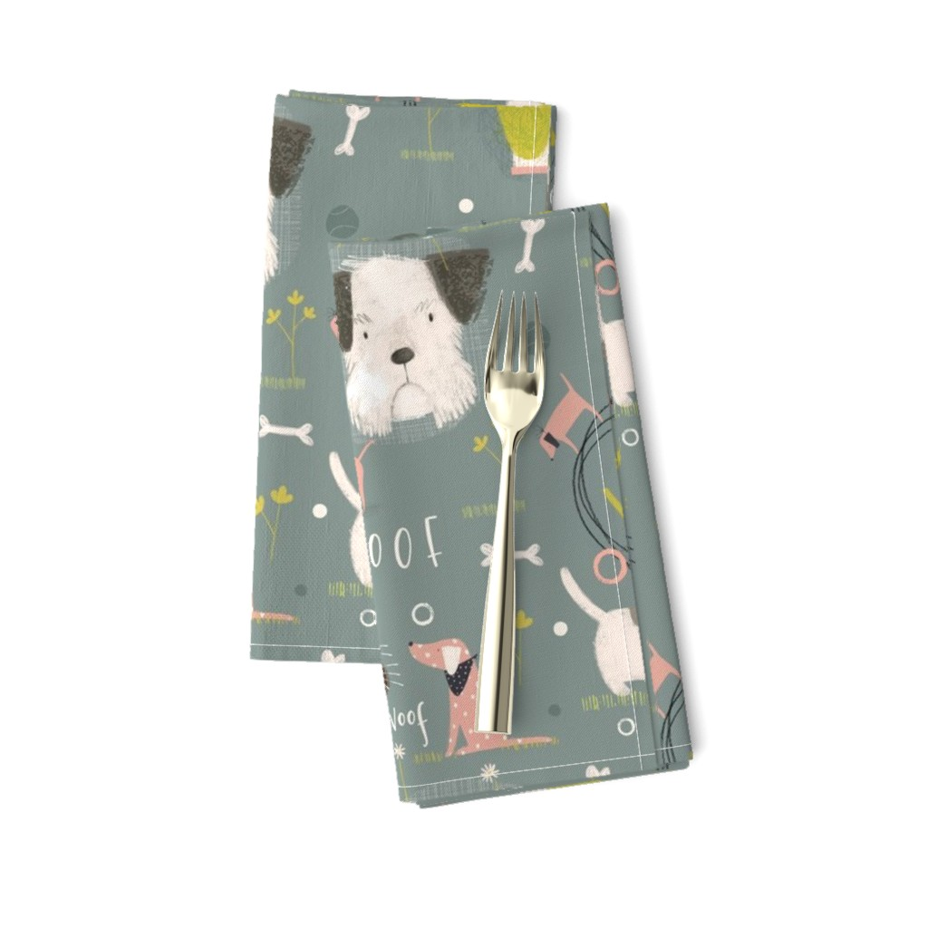 Amarela Dinner Napkins featuring Dogs in the field by samrudddesign