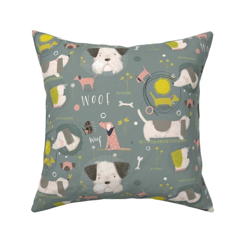 Catalan Throw Pillow featuring Dogs in the field by samrudddesign