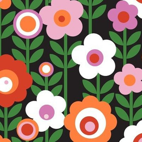 Marguerite* (Pink Orange Red on Black) || vintage sheet mod 70s 60s flower floral leaves stem garden spring summer