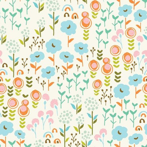 Quirky floral pattern with bright spring flowers