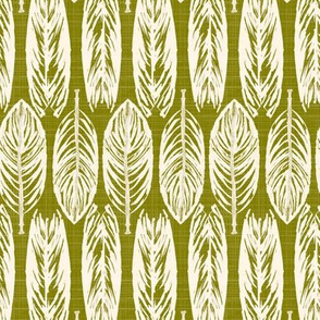 19-10aa Farmhouse Leaves Ivory Olive Avocado Green