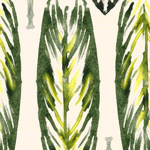 19-10z Large Olive Green Tribal Rustic Leaves Cream