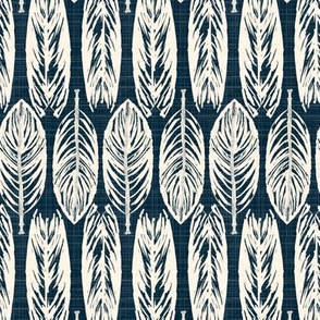 19-10y Rustic Tribal Leaves Nature Midnight Fall Blue Ivory Cream