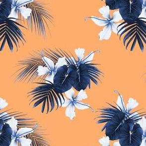 Blue and orange hibiscus mix