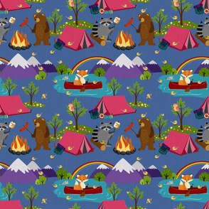 Camping Forest Animals -blue