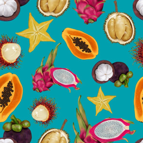 Tropical Fruits-teal