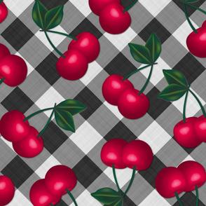 Jumbo Cherries on Black Gingham