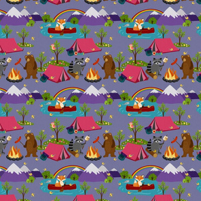 Camping Forest Animals - dusky purple