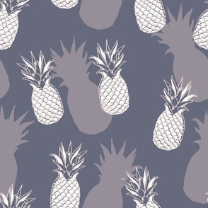 Retro Pineapple Shapes in Purple seamless pattern background