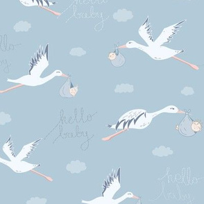 Storks with Babies seamless pattern background.