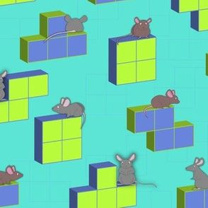 Mouse playing game Tetris cubes