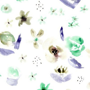 Tender florals in mint and purple • watercolor flowers