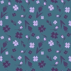 Flowers & Feathers Purple
