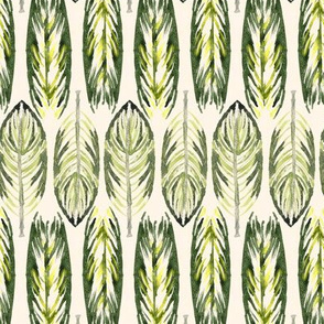 19-10w Small Tribal Rustic Farmhouse leaves Avocado Olive Green